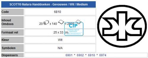 KIMBERLY CLARK HOSTESS NATURA HANDDOEKJES C-GEVOUWEN 2-LAAGS 25x33cm NR.6810 (20x140st)