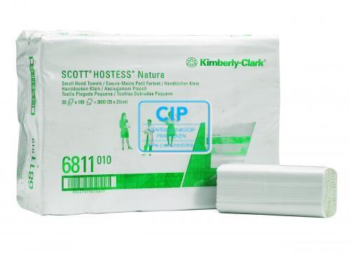KIMBERLY CLARK HOSTESS NATURA HANDDOEKJES ZIG-ZAG 2-LAAGS 25x23cm NR.6811 (20x180st)