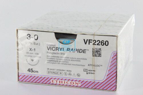 J&J VICRYL RAPIDE 3-0 VF2260 MET NAALD X1 45cm (36st)