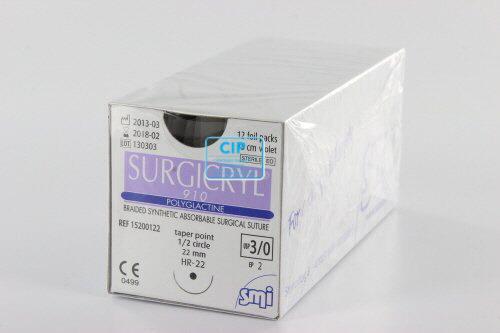 SMI SURGICRYL 910 PAARS 3-0 MET 1/2 CIRKEL RONDBODY NAALD HR22mm 75cm (12st)