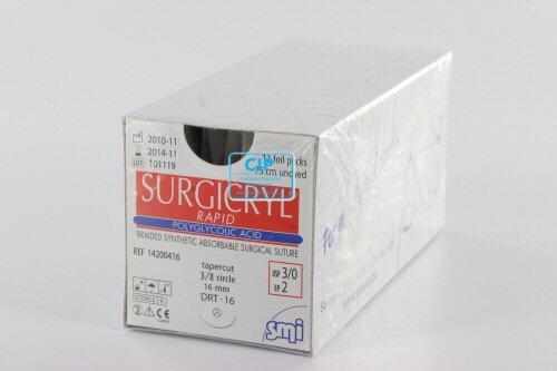 SMI SURGICRYL RAPID 3-0 MET 3/8 CIRKEL ROND NAALD SNIJDENDE PUNT DRT16mm 75cm (12st)