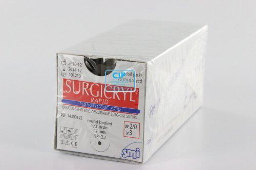SMI SURGICRYL RAPID 2-0 MET 1/2 CIRKEL RONDBODY NAALD HR22mm 75cm (12st)