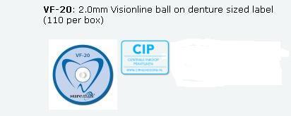 SUREMARK DENTALMARK SKINMARKERS 2.0mm VISIONLINE BALL ON DENTURE SIZED LABEL (110st)