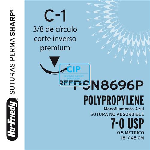 HU-FRIEDY POLYPRO SUTURE 7/0 PSN8696P MET NAALD C1 45cm (12st)