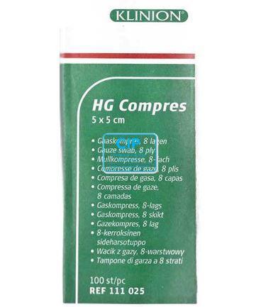 KLINION HG GAASJES 5x5cm NIET STERIEL 8 LAAGS (100st)