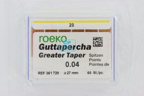 ROEKO GUTTA PERCHA POINTS GREATER TAPER .04 NR.20 GEEL (60st)
