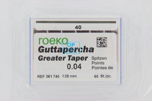 ROEKO GUTTA PERCHA POINTS GREATER TAPER .04 NR.40 ZWART (60st)