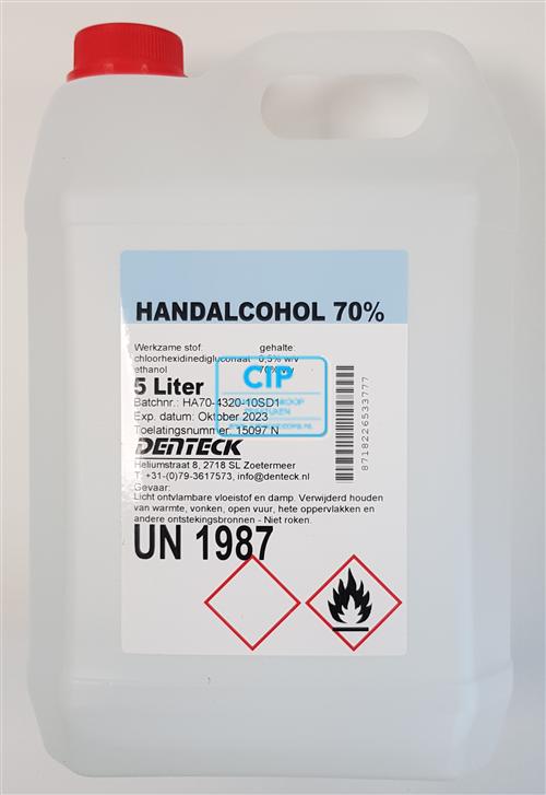 DENTECK (HAND) DESINFECTIE-ALCOHOL 70% (5ltr)