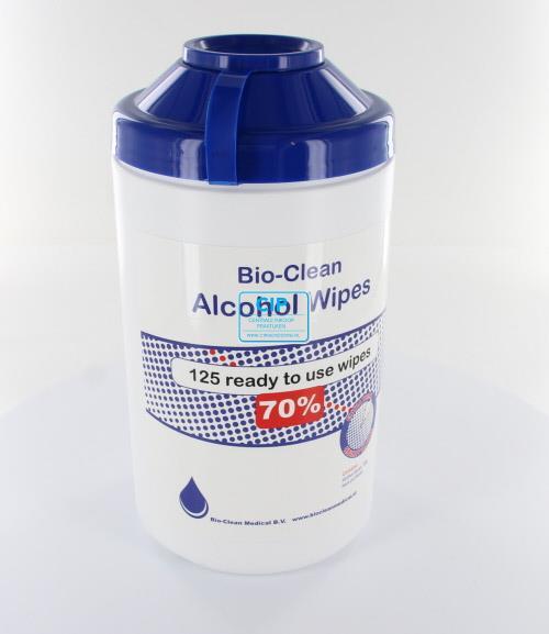 BIO-CLEAN MEDICAL 70% ALCOHOL WIPES 20x20cm DISPENSER LEEG