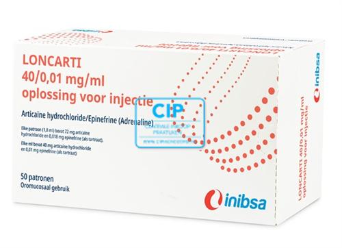 INIBSA LONCARTI SP BRUIN LATEXVRIJ 4% 1:100.000 (50x1,8ml)
