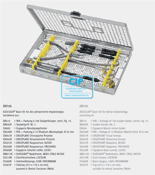 AESCULAP BASIC KIT IMPLANTOLOGIE DX705