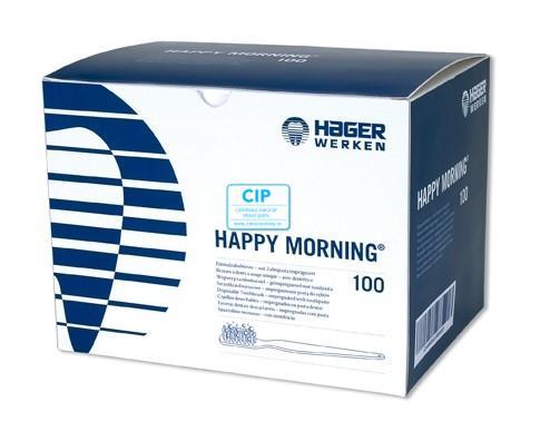 HAGER&WERKEN DISPOSABLE BORSTELS HAPPY MORNING MET TANDPASTA (100st)