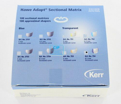 KERRHAWE ADAPT SECTIONAL MATRIXEN TRANSPARANT 6,5mm INCREASED CURVE (100st) & APPROXIMAL SHAPERS (100st) NR.754