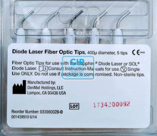 DENMAT SAPPHIRE DIODE LASER FIBER OPTIC TIPS 400Um (5x5st)