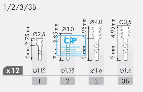 MAILLEFER RADIX ANKERS TITANIUM REFILL NR.3B DONKERROOD (12st)