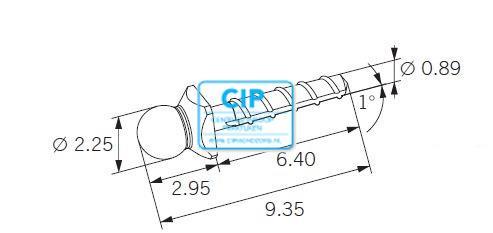 CENDRES METAUX DALBO-ROTEX STIFT MET KORTE KOP 9,35mm NR.15.41.1GT (5st)