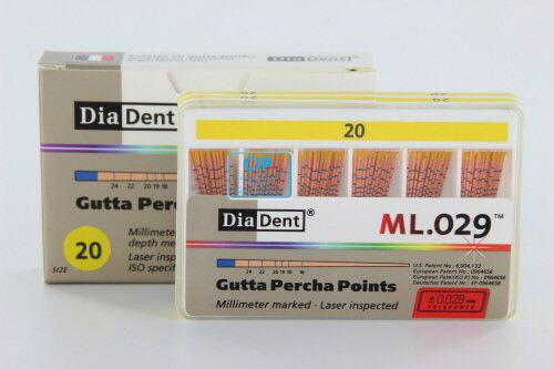 DIADENT GUTTA PERCHA POINTS COLOR-CODED NR.20 GEEL (120st)