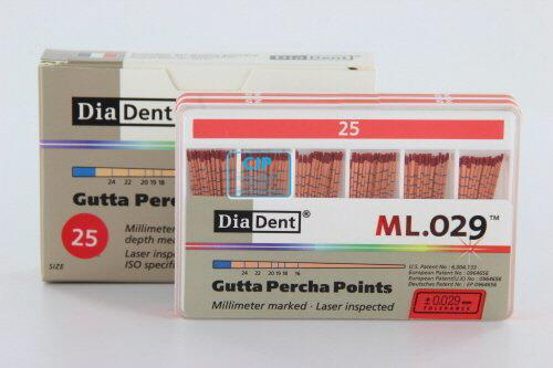 DIADENT GUTTA PERCHA POINTS COLOR-CODED NR.25 ROOD (120st)