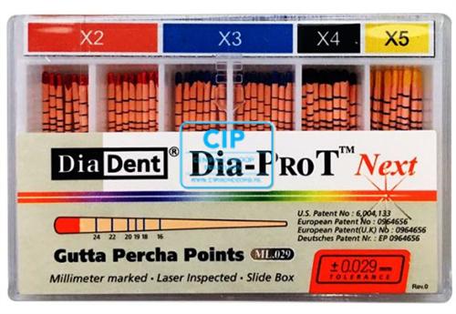 DIADENT GUTTA PERCHA POINTS DIA-PROT NEXT X2-X3 ASSORTI (60st)