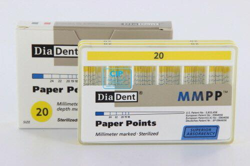 DIADENT PAPERPOINTS COLOR-CODED NR.20 GEEL (200st)