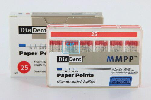 DIADENT PAPERPOINTS COLOR-CODED NR.25 ROOD (200st)