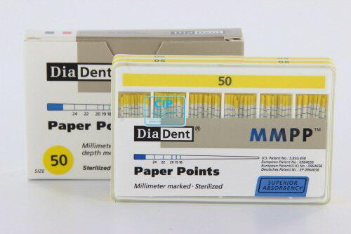 DIADENT PAPERPOINTS COLOR-CODED NR.50 GEEL (200st)