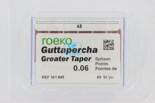 ROEKO GUTTA PERCHA POINTS GREATER TAPER .06 NR.45 WIT (60st)