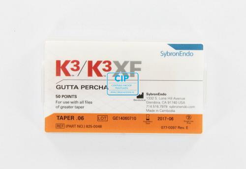 SYBRON-ENDO K3 GUTTA PERCHA POINTS .06 FEATHERED TIP (50st)