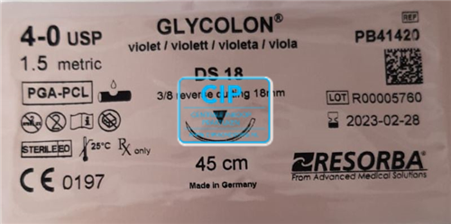 RESORBA GLYCOLON HECHTDRAAD VIOLET 4.0 DS-18 3/8 SNIJDENDE NAALD 70cm (24st)