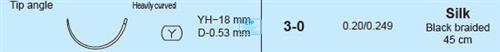 MANI SUTURES NR.5 3-0 YH18 HECHTDRAAD GEBOGEN NAALD 45cm (12st)