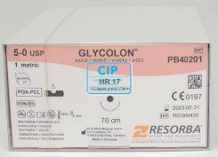 RESORBA GLYCOLON HECHTDRAAD VIOLET GEBOGEN RONDE NAALD 5.0 HR17 70cm (24st) PB40201