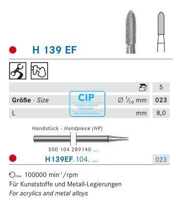 KOMET HP CARBIDE FRAIS H139EF023 (5st)