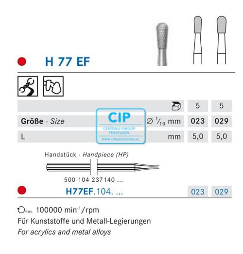 KOMET HP CARBIDE FRAIS H77EF023 (5st)