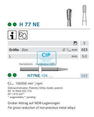 KOMET HP CARBIDE FRAIS H77NE023 (5st)