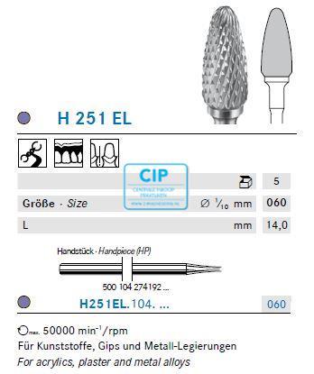 KOMET HP CARBIDE FRAIS H251EL060 (5st)