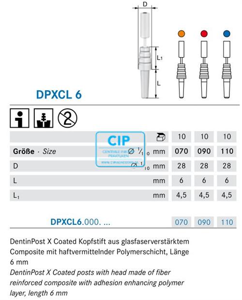 KOMET DENTIN POST X COATED REFILL DPXCL6 110 BLAUW (10st)