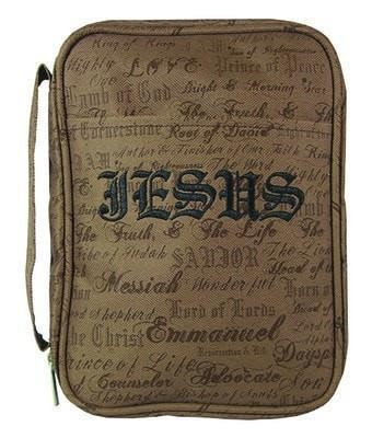 Canvas Bible Cover Large, Names Of Jesus, Brown (General Merchandise)