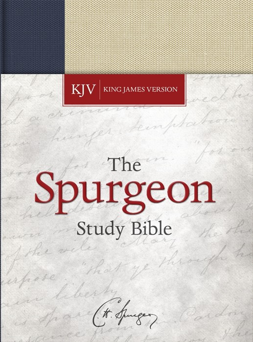KJV Spurgeon Study Bible, Navy/Tan Cloth-over-Board (Hard Cover)
