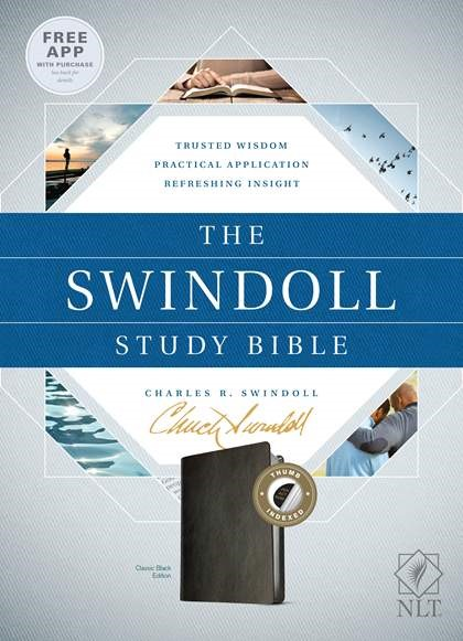 The NLT Swindoll Study Bible Black, Indexed (Imitation Leather)