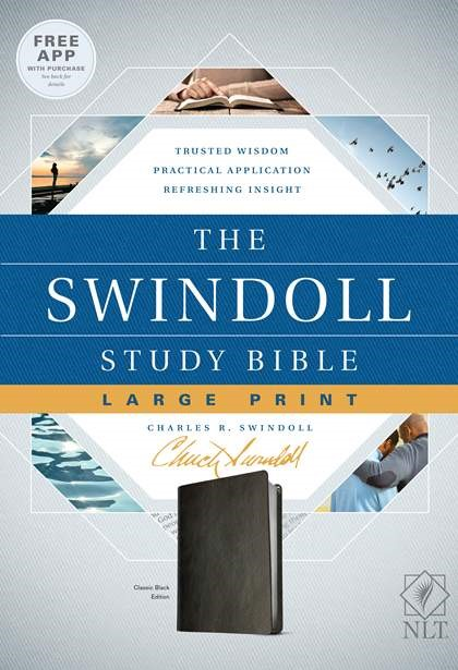 The NLT Swindoll Study Bible, Large Print, Black (Imitation Leather)