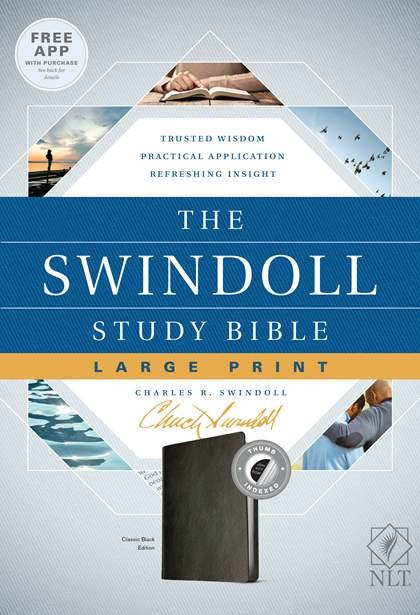 The NLT Swindoll Study Bible, Large Print, Black, Indexed (Imitation Leather)