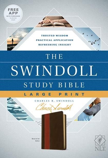 The NLT Swindoll Study Bible, Large Print, Brown (Imitation Leather)