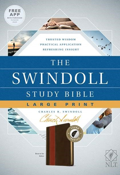 The NLT Swindoll Study Bible, Large Print, Brown, Indexed (Imitation Leather)