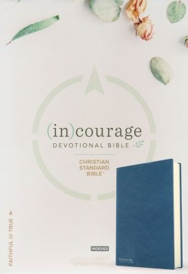 CSB (in)courage Devotional Bible, Navy Leather, Indexed (Leather Binding)