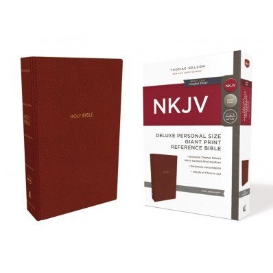 NKJV Deluxe Reference Bible Personal Size, Red (Imitation Leather)