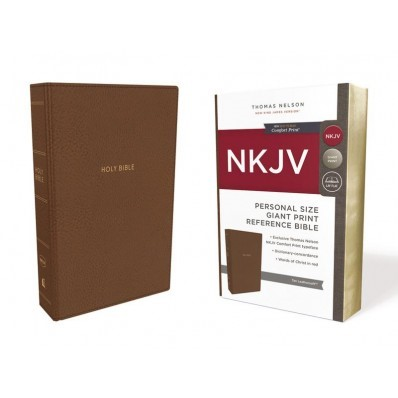 NKJV Reference Bible Personal Size Giant Print, Tan (Imitation Leather)