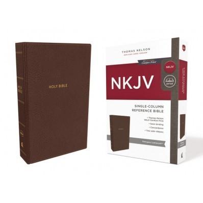 NKJV Single-Column Reference Bible, Brown (Imitation Leather)