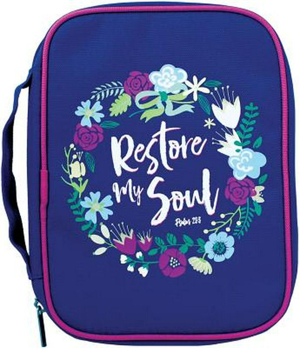 Bible Cover Restore My Soul Canvas Medium (Bible Case)