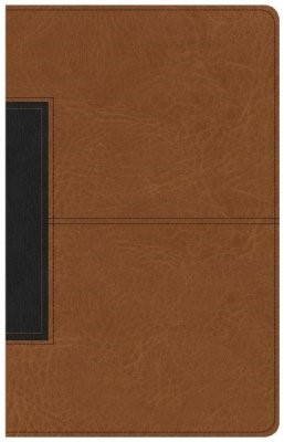 CSB Single-Column Personal Size Bible, Tan/Black LeatherTouc (Imitation Leather)
