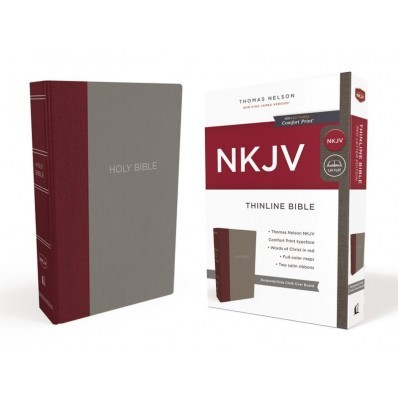 NKJV Thinline Bible, Burgundy/Gray, Red Letter Edition (Hard Cover)
